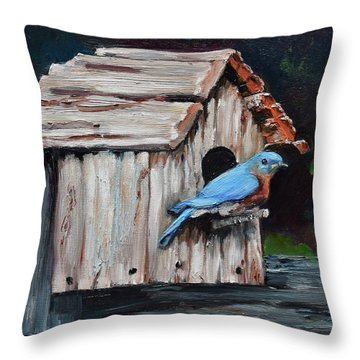 Throw Pillow featuring the painting Blue Bird On Lake Odom by Jan Dappen