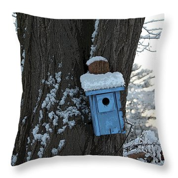 Blue Birdhouse Throw Pillow