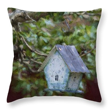 Blue Birdhouse Painterly Effect Throw Pillow