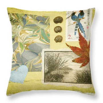 Throw Pillow featuring the mixed media Blue Birds Collage by Jan Bickerton