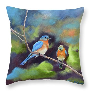 Throw Pillow featuring the painting Blue Birds - Soul Mates by Jan Dappen