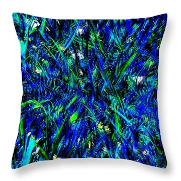 Throw Pillow featuring the photograph Blue Blades Of Grass by EDi by Darlene