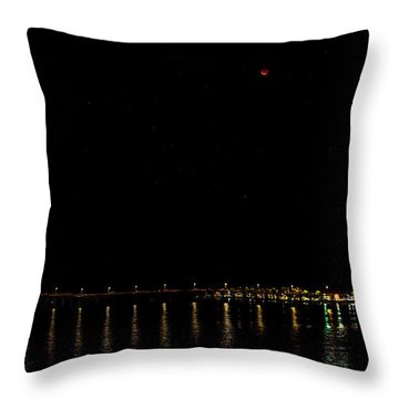 Blue Blood Moon 2018 Ventura, California Pier Throw Pillow