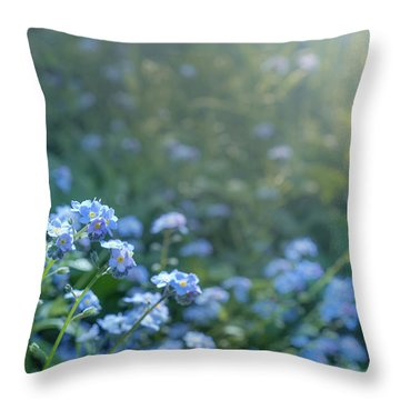 Blue Blooms Throw Pillow