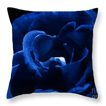 Blue Blue Rose Throw Pillow by Clayton Bruster