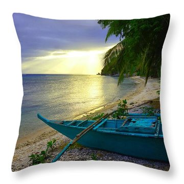 Blue Boat And Sunset On Beach Throw Pillow