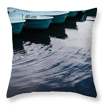 Blue Boat Throw Pillow