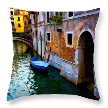 Blue Boat At Twilight Throw Pillow