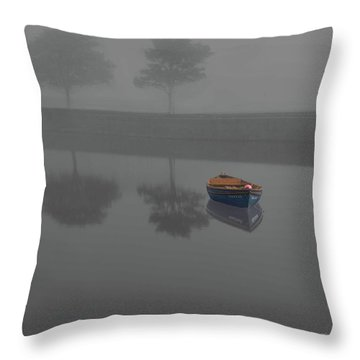 Blue Boat In Fog Throw Pillow
