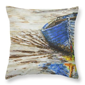 Blue Boat Throw Pillow by Marty Garland