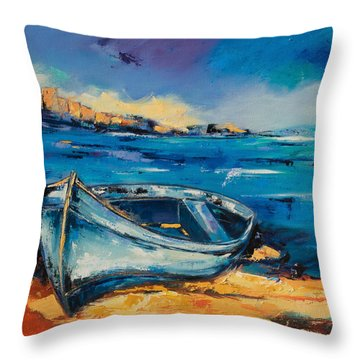 Blue Boat On The Mediterranean Beach Throw Pillow by Elise Palmigiani