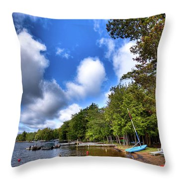 Throw Pillow featuring the photograph Blue Boat On The Shore by David Patterson