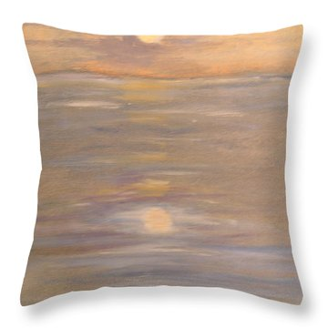 Blue Boat Throw Pillow by Patricia Caldwell