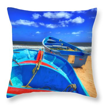 Blue Boats Throw Pillow