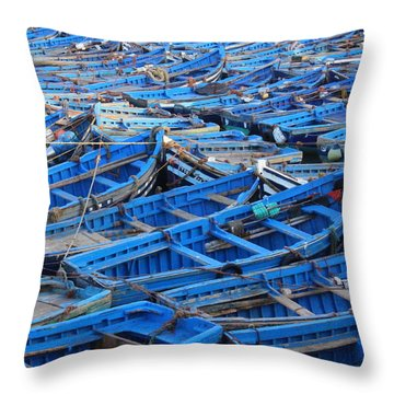 Throw Pillow featuring the photograph Blue Boats Of Essaouira by Ramona Johnston