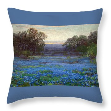 Blue Bonnet Meadows Throw Pillow by Roberto Prusso