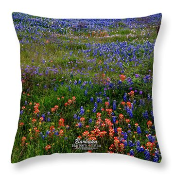 Throw Pillow featuring the photograph Bluebonnets #0487 by Barbara Tristan