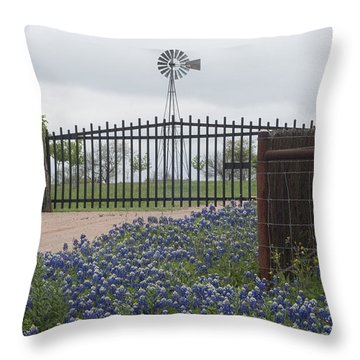 Blue Bonnets By Gate Throw Pillow