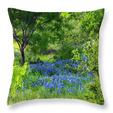 Blue Bonnets In The Country Throw Pillow by Linda Phelps