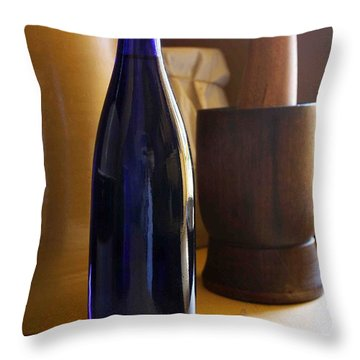 Blue Bottle And Mortar Throw Pillow