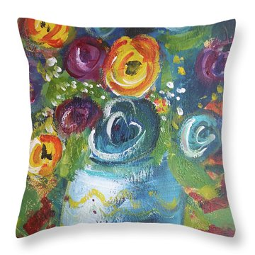 Blue Bouquet Throw Pillow