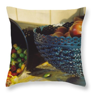 Blue Bowl Throw Pillow by Jan Amiss Photography