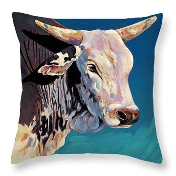 Blue Brahma Throw Pillow