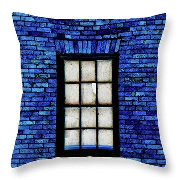 Throw Pillow featuring the digital art Blue Brick by Robert Geary
