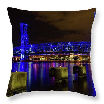 Throw Pillow featuring the photograph Blue Bridge 1 by Arthur Dodd