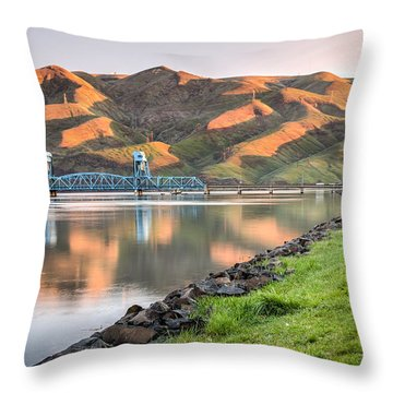 Blue Bridge From The Levee Throw Pillow