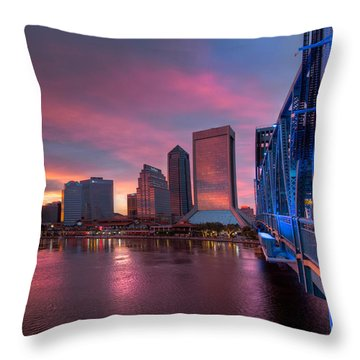 Blue Bridge Red Sky Jacksonville Skyline Throw Pillow by Debra and Dave Vanderlaan