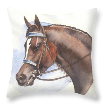 Throw Pillow featuring the painting Blue Bridle by Sandra Phryce-Jones