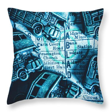 Blue Britain Bus Bill Throw Pillow
