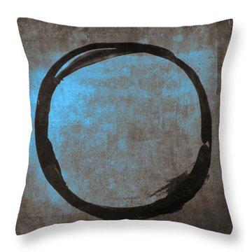 Blue Brown Enso Throw Pillow