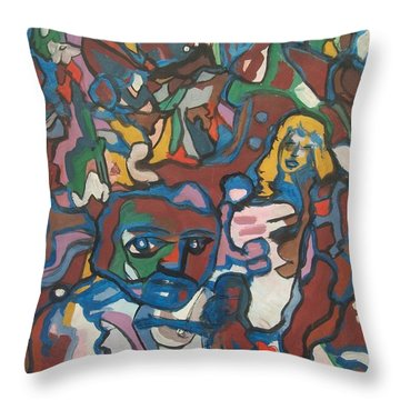 Blue Brown People Throw Pillow by James Christiansen