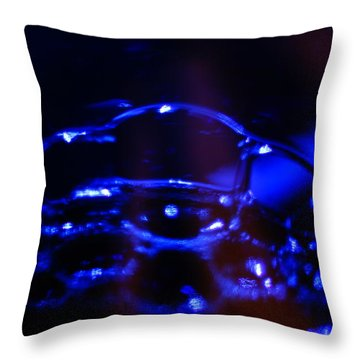 Throw Pillow featuring the digital art Blue Bubbles by Jana Russon