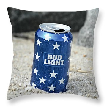 Blue Bud Light Throw Pillow