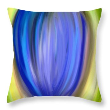Throw Pillow featuring the digital art Blue Bud by Melinda Ledsome