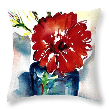 Blue Bud Vase Throw Pillow