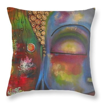 Buddha In Blue Meditating  Throw Pillow by Prerna Poojara