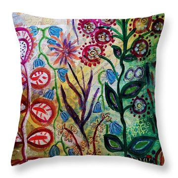 Blue Bug In The Magic Garden Throw Pillow by Mimulux patricia no No