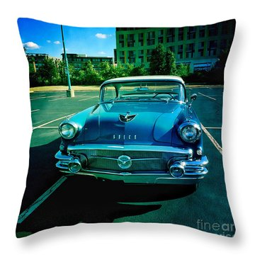Throw Pillow featuring the mixed media Blue Buick by Terry Rowe