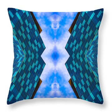 Blue Building Downtown N58v2 Throw Pillow by Raymond Kunst