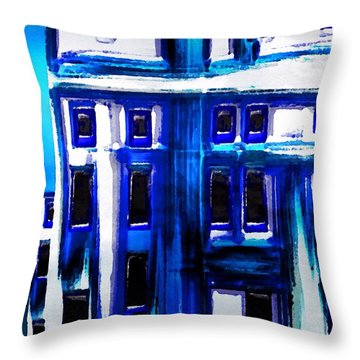 Throw Pillow featuring the painting Blue Buildings by Mark Taylor