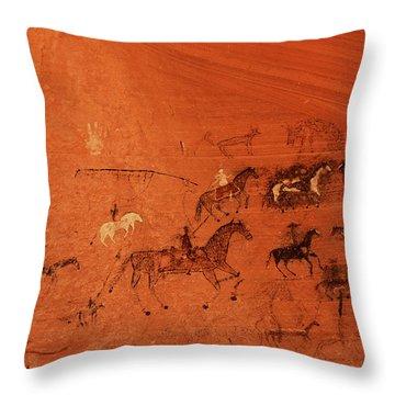 Blue Bull Cave Throw Pillow