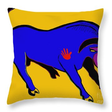 Blue Bull Throw Pillow