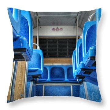 Blue Bus Seats Throw Pillow