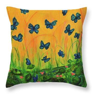 Blue Butterflies In Early Morning Garden Throw Pillow