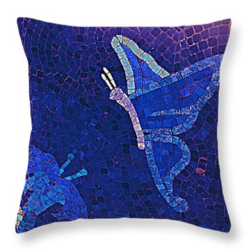 Blue Butterfly And Flower Throw Pillow