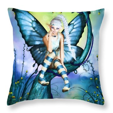 Blue Butterfly Fairy In A Tree Throw Pillow